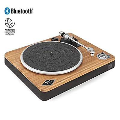 House of Marley Stir It Up Wireless Turntable - Sustainably Crafted Bamboo Record Player, Bluetooth Pairing, High Quality Recycled Rewind Fabric, USB to PC/MAC Recording, Dust Cover - Bamboo/Black