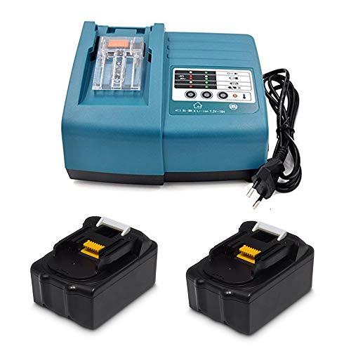 Ersatz Ladegerät mit 2X Akku 18V 3.0Ah für Makita Baustellenradio BMR100 BMR102 DMR100 DMR110 DMR112 DMR101 DMR103B BMR104 BMR103 DMR104 DMR105 DMR106 DMR102 DMR109 DMR108 DMR107 18 Volt Radio