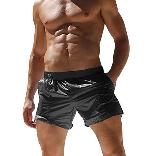 Kfnire Bañador para Hombre, Pantalones Cortos de Los Transparente Hombres de Secado Rápido Playa Surf Corriendo Pantalones Cortos de Natación Boxeadores (EU XL=Tag XXL, Negro)