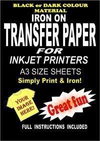 Imprimables fer sur T-Shirt &de Papier transfert textile pour tissu foncé 20 ...