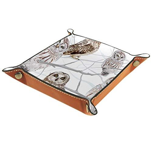 Bandeja de Cuero - Organizador - Búho animal - Práctica Caja de Almacenamiento para Carteras,Relojes,llaves,Monedas,Teléfonos Celulares y Equipos de Oficina