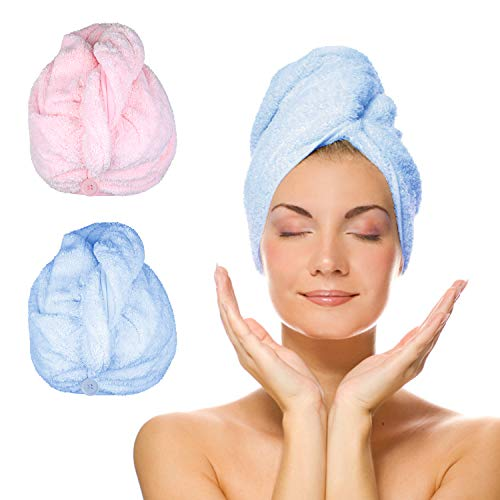 KATELUO Turban Haartrockentuch 2 Stück Handtuch Kopftuch Schnelltrocknend saugfähig Haar Trocknendes Tuch mit Knopf Super Mikrofaser Schnell trocknend Kopfhandtuch für Mädchen Frauen (Blau & Rosa)