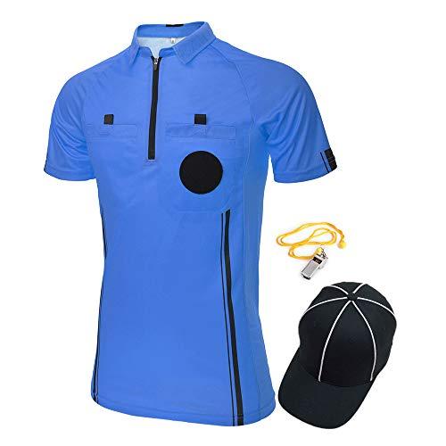 TopTie USSF Pro Camiseta de árbitro de fútbol para hombre, manga corta, sombrero y silbato de entrenador de metal para fútbol de fútbol-S