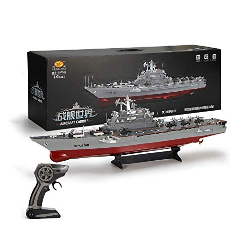 AEDWQ RC Boat Remote Control Boats 1/275 Proportion 2.4GHz with Waterproof Protection Oversized Aircraft Carrier Battleship Warship Model(HT-2878B) The Best Gift for Boys