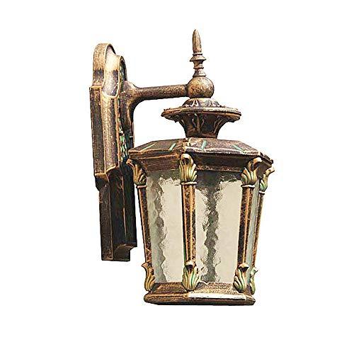 KMYX Lámpara de Pared de Bronce al Aire Libre Impermeable Linterna de jardín for Biselado Acabado de Vidrio de Agua Estilo de Corte Europeo Aplique de Pared Exterior Apliques