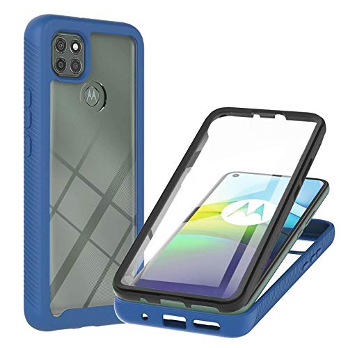 Lijc Compatible con Funda Motorola Moto G9 Power Incorporado Pet Protector de Pantalla 360° Cuerpo Completo Armadura Delgada Caso Híbrido Flexible Silicona TPU Suave y Hard PC Cubierta-Azul