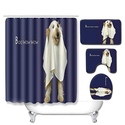 WEIFENG Europäische und amerikanische Außenhandel Halloween WC-Set vierteilige Badezimmermatte Wohnzimmer Schlafzimmer Teppich grenzüberschreitend 284 45 * 75 cm + 180 * 180 cm