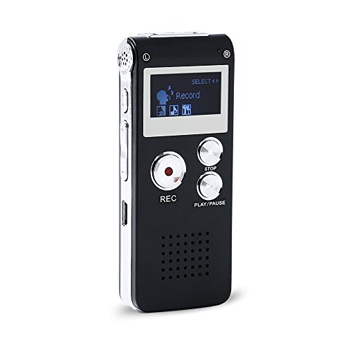 Tangmi Professional Multifunctional Rechargeable 8G 8GB 650HR Digital Audio Voice Recorder Dictaphone MP3 Player with 3D Sound (Black)