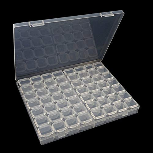 56 rejillas de almacenamiento organizadores, plástico 5d bordado diamante caja de almacenamiento joyería arte accesorio contenedor