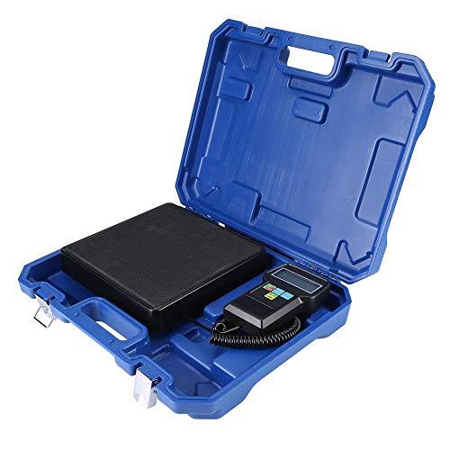 Báscula Electrónica Refrigerante 220lb/100kg, Escala Balanza Digital Electrónico de Carga de Refrigerante con Pantalla LCD y Caja de Almacenamiento Portátil para Aire Acondicionado A/C (kgs, l