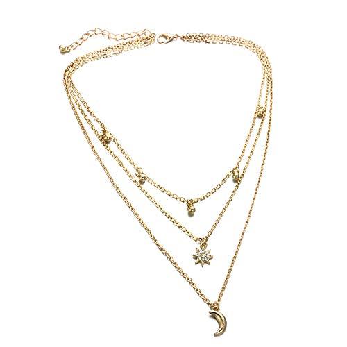 Silverdee Europäischer und amerikanischer Schmuck Frische Legierung Metall Multi-Angle Stars Moon 3 Layer Halskette Anhänger