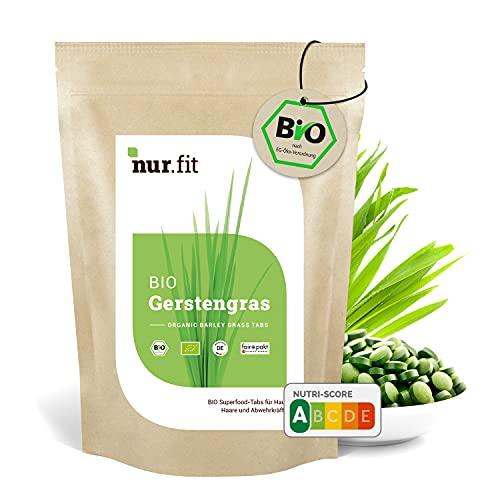 nur.fit by Nurafit BIO Gerstengras Presslinge 1kg / 2000 Stück – rein natürliche Tabs aus Gerstengras ohne Zusatzstoffe aus deutschem Anbau - Bio zertifiziert mit Vitaminen und Eisen