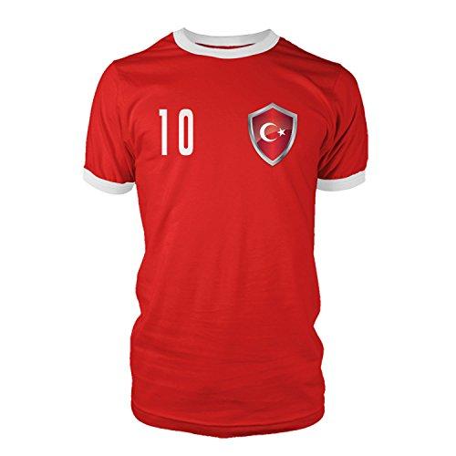net-shirts TÜRKEI - TÜRKIYE Trikot Style 2 T-Shirt Fussball Nationalmannschaft WM EM, Größe M - Rückennummer 1, rot