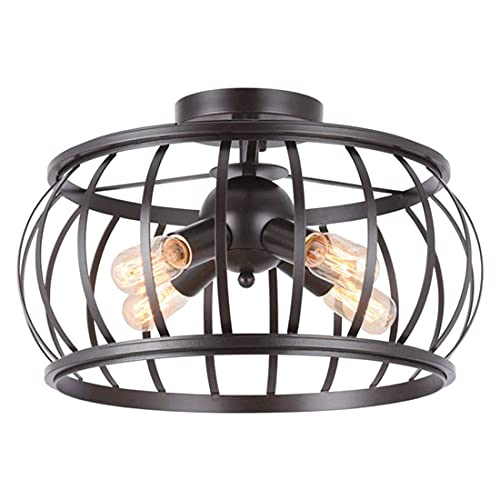 Lámpara de techo LED de araña, estilo vintage, con casquillo E27, para dormitorio, cocina y comedor, 4 luces