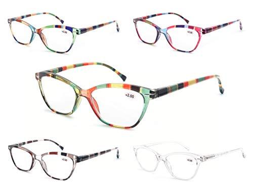 MODFANS (5 Pack) Lesebrille 3.0 Rund Damen,Gute Brillen,Hochwertig,Mode,Komfortabel,Super Lesehilfe,fur Frauen