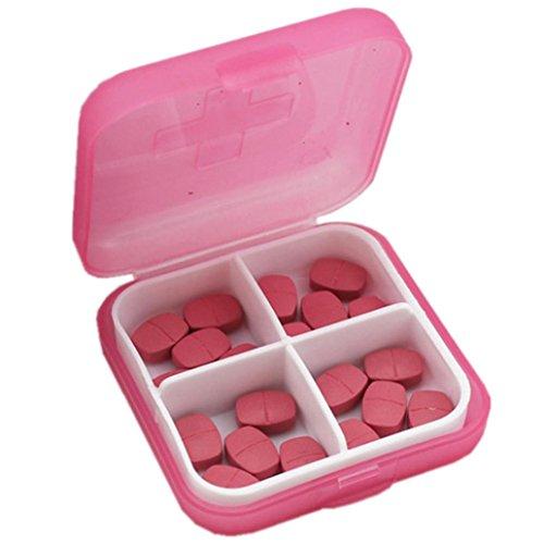 Sensail Organisateur de voyage portable Rappel de prescription et de médicament Pill Box Poche Distributeur de boîte à pilules Récipient de vis de bijoux, 4 compartiments … (Rose)