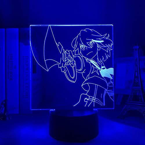 Luz nocturna 3D Anime Kill la Kill LED luz nocturna Ryuko Matoi lámpara para dormitorio decoración de cumpleaños Kill La Trolle Ryuko Light acrílico 3D lámpara Anime MBFT
