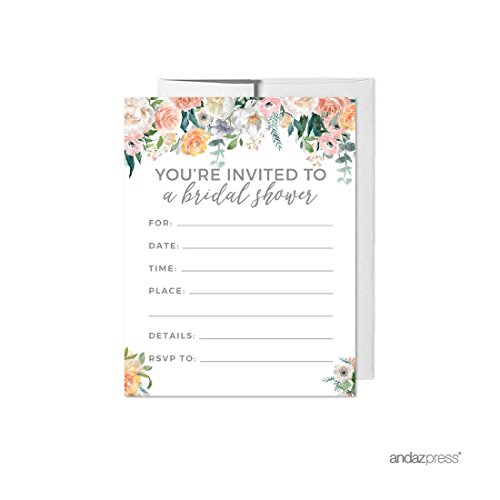 Andaz Press Peach Coral Floral Garden Party Wedding Collection, Blank Bridal Shower Invitations with Envelopes, 20-Pack