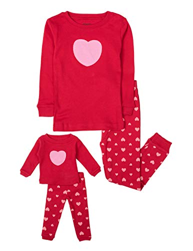 "Leveret""Hearts"" 2 Piece Matching Kid & Doll Pajama Set 100% Cotton (2T-8Y) (4 Toddler, With Doll Pj"