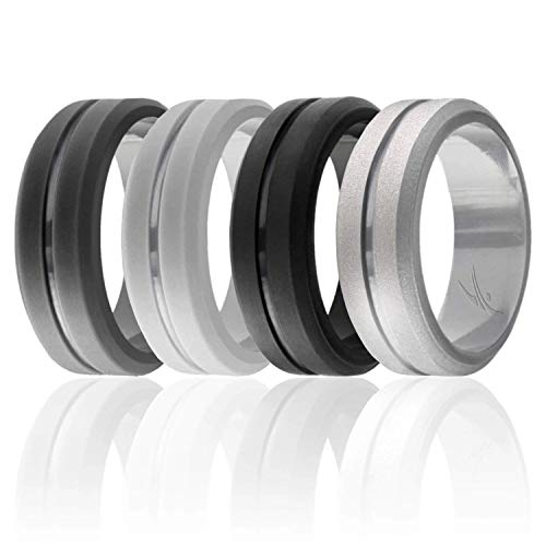 ROQ Silicone Wedding Ring for Men, Set of 4 Elegant, Affordable Silicone Rubber Wedding Bands, Brushed Top Beveled Edges -Black, Grey, Silver, Light Grey - Size 9