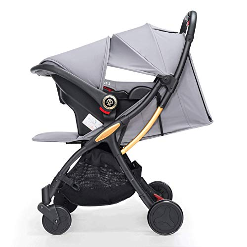 GFHJ1201 Cochecito De Bebé 3 En 1, Cochecito De Bebé con Respaldo Y Pedales Ajustables, Sistema De Viaje para Bebé Plegable, Ligero Y De Alta Visibilidad con Sombrilla, Cesta De La Compra(Color:Gris)