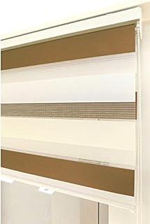 Estor Noche y día Enrollable a Medida Basic Tricolor marrón - Crema - Blanco. Medida 78cm x 180cm para Ventanas abatibles y Puertas.