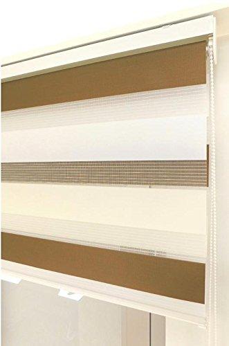 Estor Noche y día Enrollable a Medida Basic Tricolor marrón - Crema - Blanco. Medida 180cm x 180cm para Ventanas abatibles y Puertas.