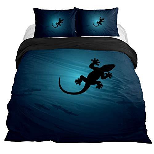 Eslifey Bettwäsche-Set für Schlafzimmer mit Eidechsen-Gecko-Chamäleon-Motiv, weich, 3-teilig, 150 x 200 cm, Mehrfarbig, King 102 x 90\\19 x 29 in