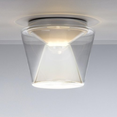 Annex Ceiling Deckenleuchte S, transparent Reflektor: Glas opal H 13cm Ø14cm Baldachin aluminium poliert