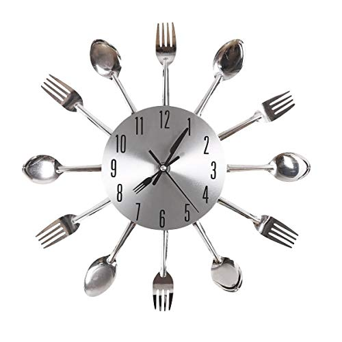 Gearmax® Einzigartige Aluminium Löffel Gabel Besteck Clock Küche Wanduhr (Silber)