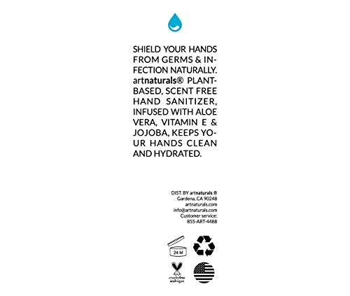 Artnaturals Hand Sanitizer Gel Alcohol Based (4 Pack x 8 Fl Oz / 220ml) Infused with Alovera Gel, Jojoba Oil & Vitamin E - Unscented Fragrance Free Sanitize