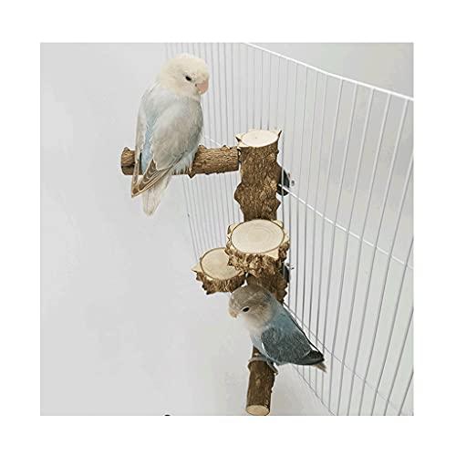 jaula pajaros Pepper Wood Stand Soporte de pájaro de pájaro, accesorios de jaula de molienda de la pata de pie, juguete de soporte de aves natural para pájaros de tamaño S / M para Marrón-marrón Durab
