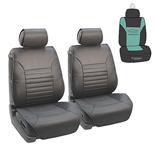 FH Group PU206102 Multifunctional Quilted Leather Seat Cushions (Gray) Front Set with Gift - Universal Fit for Cars, Trucks & SUVs