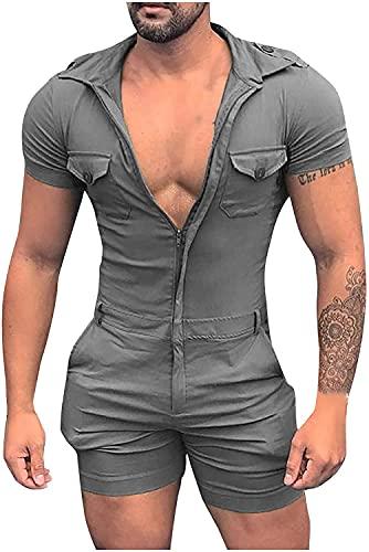 Mono estampado de Color sólido de primavera/verano para hombre camisa de botón de manga corta pantalones casuales de una pieza con bolsillos (4XL,Gray)