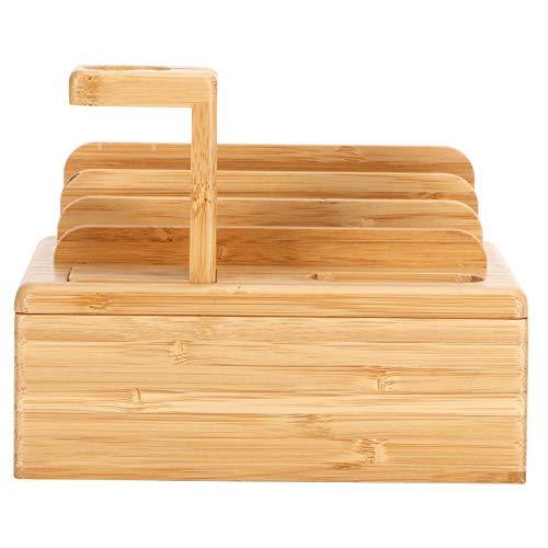 SHYEKYO Organizador de Tableta de bambú, Caja de Almacenamiento de Escritorio Soporte de Dispositivo de bambú Soporte de Tableta de bambú Elegante para Dormitorio de Oficina en casa, Sala de Estar,