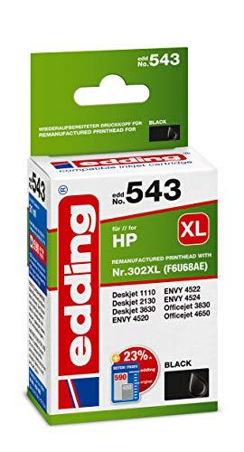 Edding Tintenpatrone Edd-543 Ersetzt HP 302XL (F6U68AE) - Schwarz - 21 ml