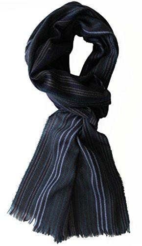 Rotfuchs Foulard, écharpe tissée, à rayures, de couleur anthracite, 100% laine (Mérinos) R-610