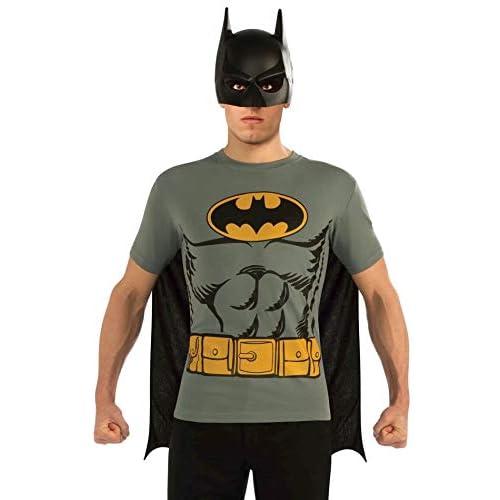 Rubie's - Set ufficiale DC Comic Batman, costume da adulto, kit istantaneo, t-shirt, maschera e mantello, taglia L