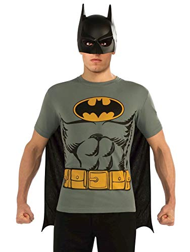 Rubie's mens Dc Comics Men's Batman T-shirt With Cape and Mask Costume Top, Multi-colored, Medium US