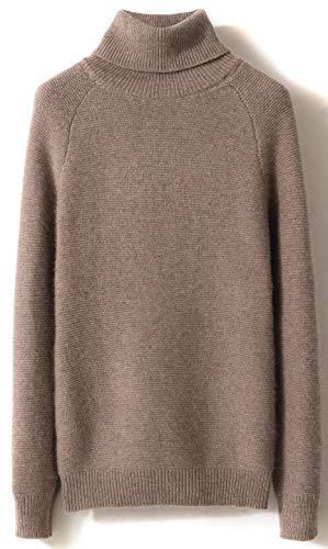 LinyXin Cashmere Damen Kaschmir Rollkragen Pullover Wolle Langarm Freizeit Winter Warm Pulli Sweater (L / 42-44, Kamel)