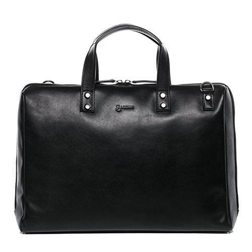 BACCINI Borsa porta pc vera pelle VIVI grande borsa a spalla 15 pollici portadocumenti a tracolla portatile 15,6' donna cuoio nero