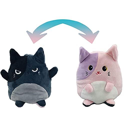 LESIXW Muñeca de Peluche Reversible Peluche Animal emoción Peluche Juguete Doble Cara para Mostrar Tus emociones en Cualquier Momento,Kitty