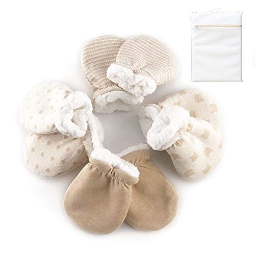 Warm Newborn Mittens No Scratch Glove Winter, Baby Mittens 0-6 Months, 4 Pairs