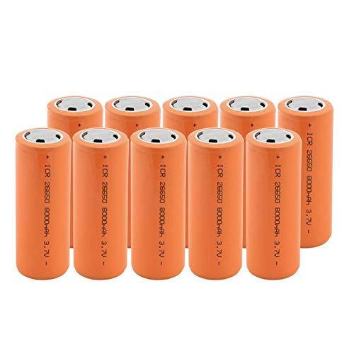 RitzyRose Batería de iones de litio de 3,7 V 8000 mAh 26650 de iones de litio, batería recargable apta para linterna, 10 unidades