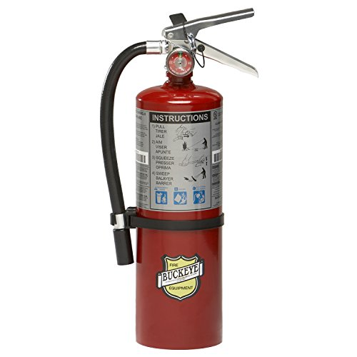 Buckeye 10914 ABC Multipurpose Dry Chemical Hand Held Fire Extinguisher with Aluminum Valve and Wall Hook, 5 lbs Agent Capacity, 3-3/8