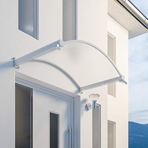 Schulte 4250820201149 Auvent voûté Basic, marquise de porte d'entrée en polycarbonate transparent, fixation blanche, 160x90 cm