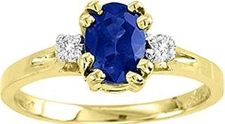 RYLOS - Juego de anillos de oro amarillo de 14 quilates con brillantes diamantes redondos y preciosos zafiros azules ovalados