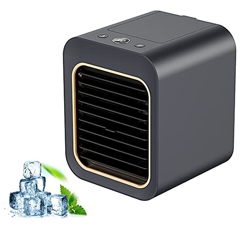 AILSAYA Ventilador De Aire Acondicionado Portátil, 3 En 1 Ventilador De Enfriamiento De Aire Portátil Enfriador De Aire De Espacio Personal Ventilador De Escritorio Silencioso Mini Enfriador,Blanco