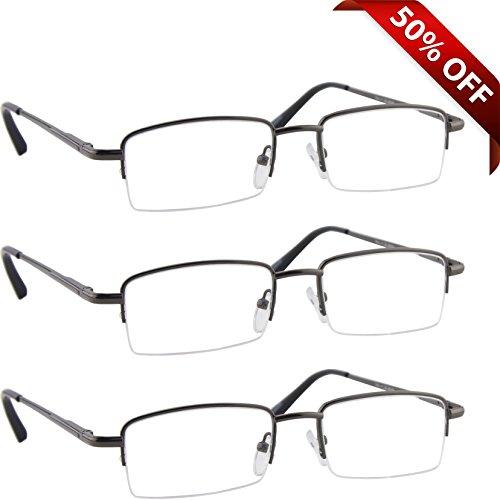 Reading Glasses Best 3 Pack Gunmetal for Men and Women Have a Stylish Look and Crystal Clear Vision When You Need It! Comfort Spring Arms & Dura-Tight Screws 100% Guarantee +1.25