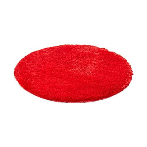Hosaire 1x Alfombra Antideslizante Felpa Forma Redonda para Salón Interior para Decorar Comedor Dormitorio Habitación Cuarto de Niño Size 60 CM (Rojo)